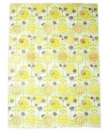 Libero Baby Disposable Mats Flowers Print Pack Of 6- Yellow & Green