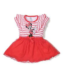 Disney by Babyhug Short Sleeves Frock Minnie Print - Red and White