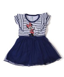 Disney by Babyhug Short Sleeves Frock Minnie Print - Blue and White