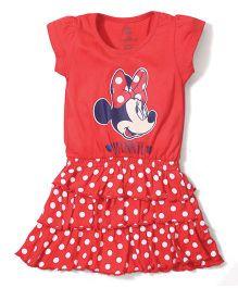 Disney by Babyhug Short Sleeves Frock Minnie Print - Red