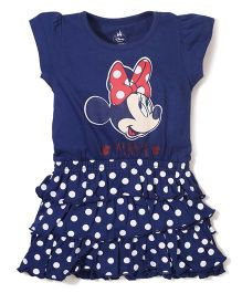 Disney by Babyhug Short Sleeves Frock Minnie Print - Blue