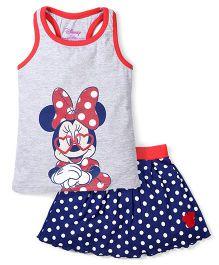 Disney by Babyhug Sleeveless Minnie Printed Top & Dotted Skirt Set - Grey & Navy