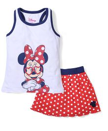 Disney by Babyhug Sleeveless Minnie Printed Top & Dotted Skirt Set - White & Red