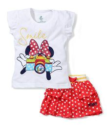 Disney by Babyhug Top and Skirt Set Smile Print - White and Red