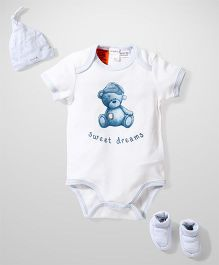Pumpkin Patch Onesies Cap And Booties Set Bear Print - White Blue