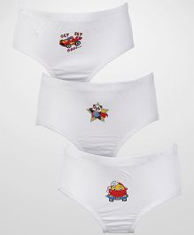 Babyhug Pack of 3 Briefs Small Print - White