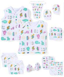 Babyhug Gift Set Multi Print White - 10 Pieces