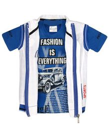 TONYBOY Vintage Car Print T-Shirt & Jacket Set - Blue & White