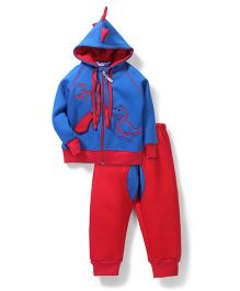 Valentine Hooded Jacket And Pant Set Dino Patch - Blue Red