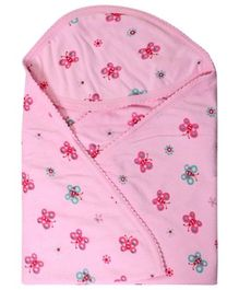 Tinycare Hooded Pink Towel - Butterfly Print