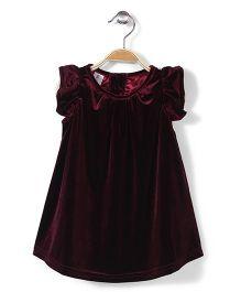 Beba Bean Box Pleat Velvet Dress - Maroon
