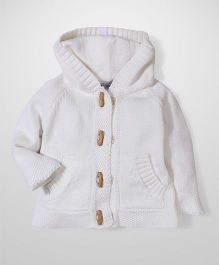 Beba bean Full Sleeves Hooded Sweater - White