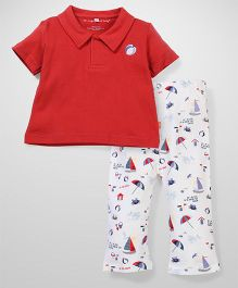 Magnificent Baby Polo Shirt And Pant - Red & White