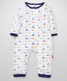Magnificent Baby Full Sleeves Cycle Print Romper - White & Navy