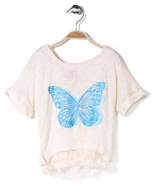 Cutie Patootie Butterfly Printed Top - Off White