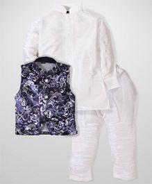 Babyhug Plain Kurta And Jodhpuri Breeches With Jacket - White And Blue