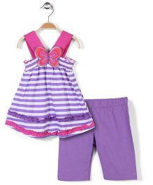 Nannette Tunic Set - Purple & pink