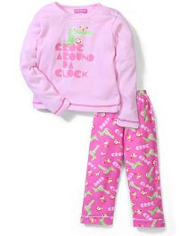 Cutie Patootie Full Sleeves Top And Pajama Crocodile Print - Pink