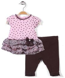 Nannette Tunic & Legging Set - Pink & Brown
