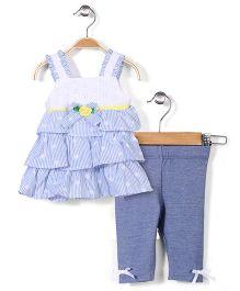 Nannette Tunic set - Blue & White