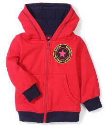 Babyhug Hooded Fleece Jacket Star Patch - Red