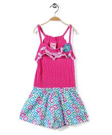 Nannette Crochet Flower on Chest Jumpsuit - Pink & Green