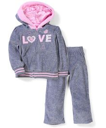 Young Hearts Love Print  - Pink & Grey
