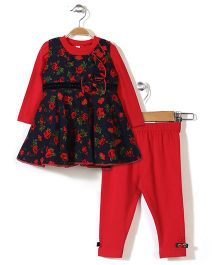 Peppermint Dress Inner Top And Leggings Bow Applique - Red Black