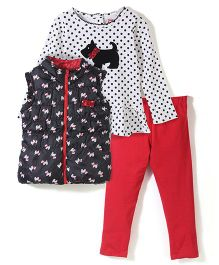 Young Hearts Dog  Print Set - Red & Black