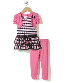 Young Hearts Dot Print Set - Pink