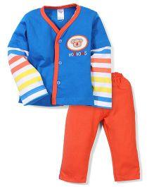 Paaple Full Sleeves Striped Night Suit - Blue Orange