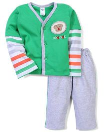 Paaple Full Sleeves Striped Night Suit - Green Gray