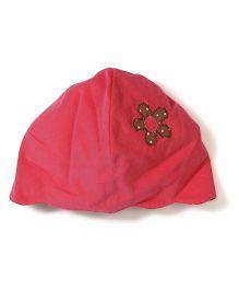 Funkie Baby Flower Print Reversible Hat - Red
