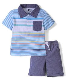 Half Sleeves Striped T-Shirt And Shorts - Blue And Grey