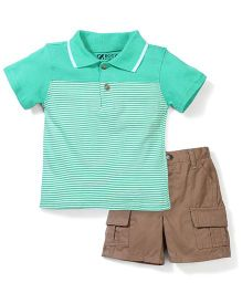 Half Sleeves T-Shirt And Shorts Set - Green And Brown