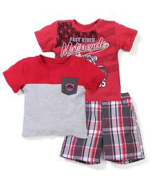 Two T-Shirt And Checks Print Shorts Set - Red And Grey
