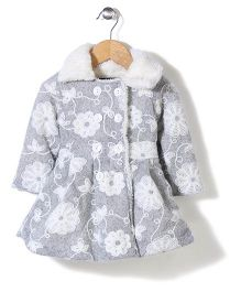 Little Kangaroos Floral Design Trench Coat - Cream Light Grey