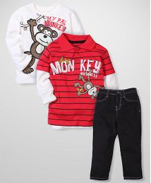 Little Rebels Monkey Print Set - Red