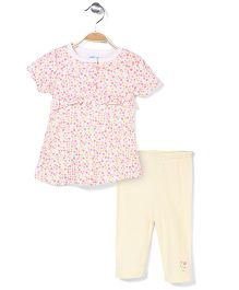 Bon Bebe Short Sleeves Top And Legging Floral - Multicolor