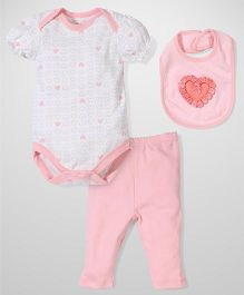 Half Sleeves Onesies Legging And Bib Set Hearts - Peach Pink And White