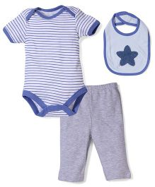 Half Sleeves Onesies Pant And Bib Set - Blue N Grey