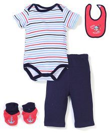 Bon Bebe Monkey Print Set - Red & Navy Blue