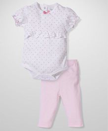 Short Sleeves Onesies And Legging Hearts - Pink And White