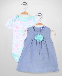 Bon Bebe Onesie & Dress Set - Blue