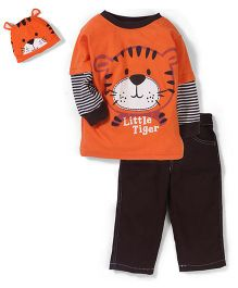 Little Rebels Little Tiger Print Set - Orange & Coffee
