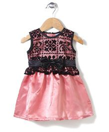 Babyhug Net Bodice Frock With Bow Accent - Black And Peach