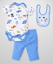 Bon Bebe Hug Me Print Set - White & Blue