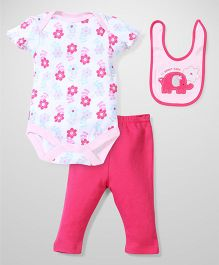 Bon Bebe Flower Print Set - White & Pink