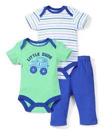 Bon Bebe Little Dude Print Set - Green Blue & White