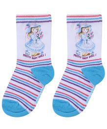 Mustang Ankle Length Socks Doll Print - White and Blue